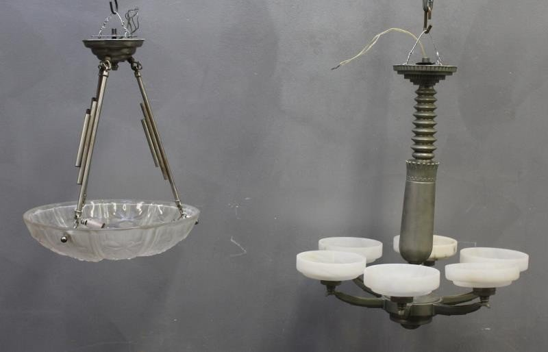 Lot of 2 French Art Deco Chandeliers To Inc A