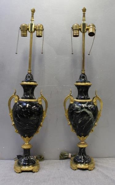 A Pair of Bronze Mounted French Black Marble Lamps