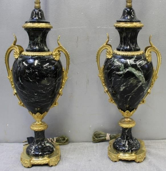 A Pair of Bronze Mounted French Black Marble Lamps - 2
