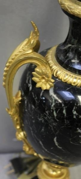 A Pair of Bronze Mounted French Black Marble Lamps - 5