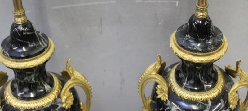 A Pair of Bronze Mounted French Black Marble Lamps - 6
