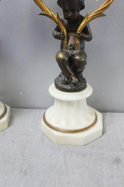 Pair of Patinated Bronze Putti Form Candlebra on - 3