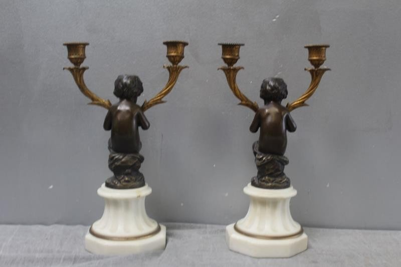 Pair of Patinated Bronze Putti Form Candlebra on - 4