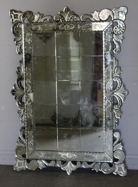Large Venetian Style Mirror . - 2