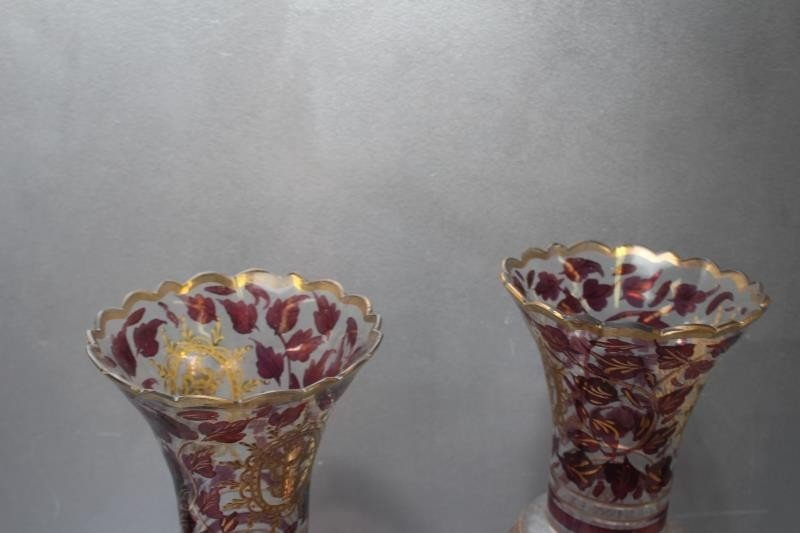 Pair of Antique Glass Lusters. - 4