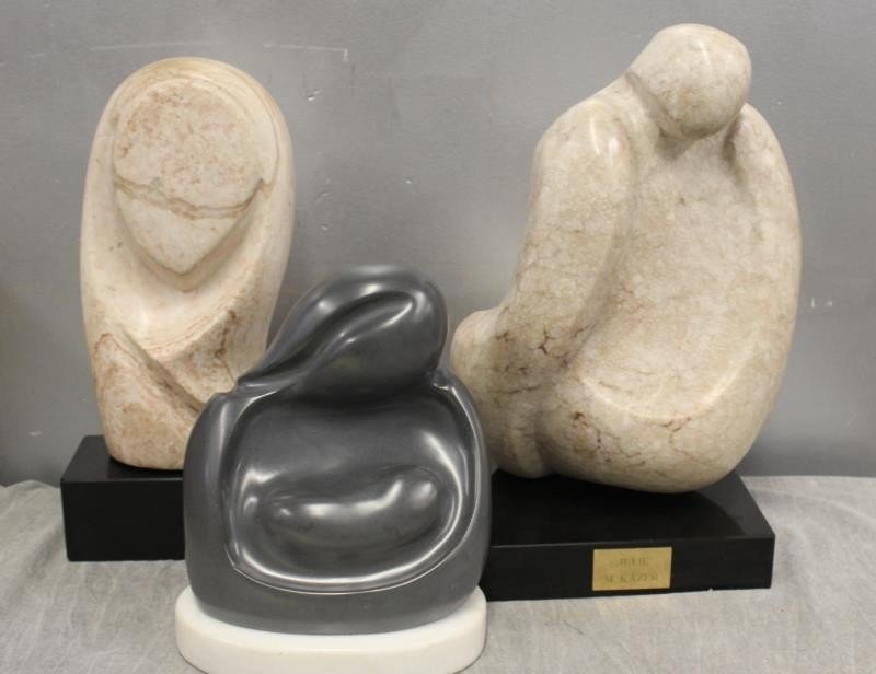 Kazer Julie M. Signed Lot of 3 Marble Sculptures.