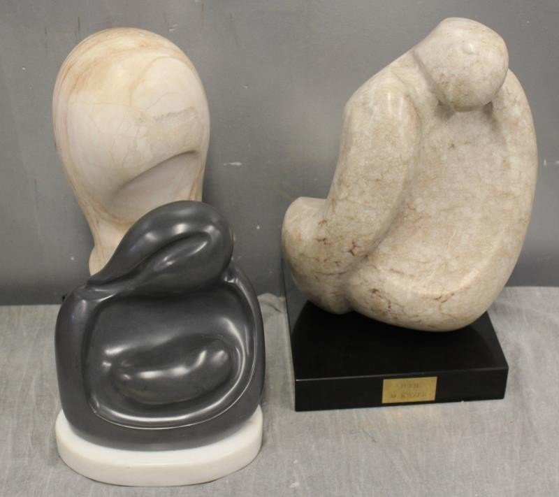 Kazer Julie M. Signed Lot of 3 Marble Sculptures. - 2