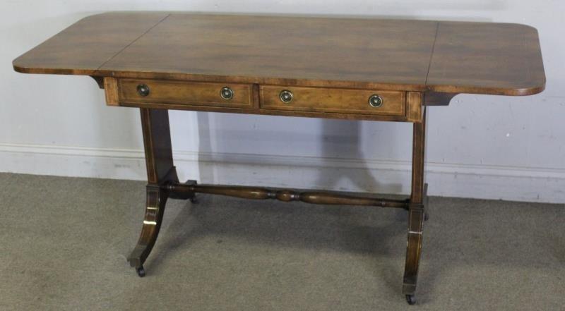 Mahogany Drop Leaf 2 Drawer Sofa Table. - 2