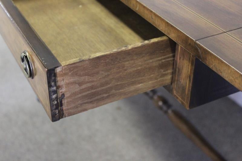 Mahogany Drop Leaf 2 Drawer Sofa Table. - 3