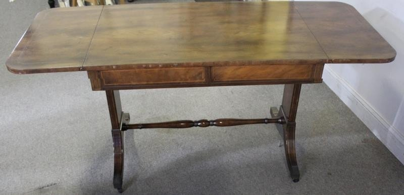 Mahogany Drop Leaf 2 Drawer Sofa Table. - 4