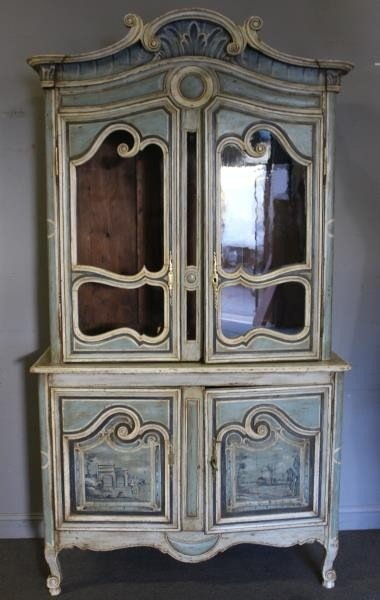 Antique Finely Painted French Provincial Cabinet.