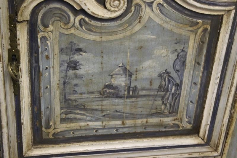 Antique Finely Painted French Provincial Cabinet. - 5