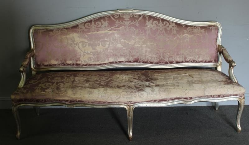 Very Decorative Silver Gilt Upholstered Settee.
