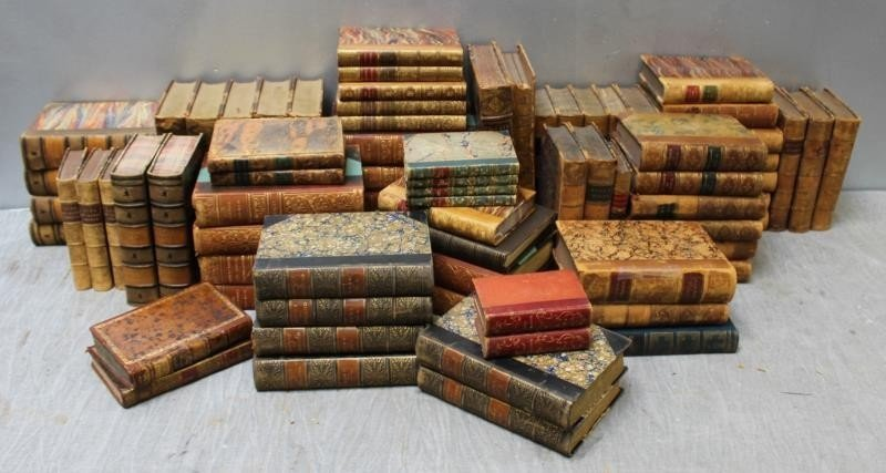 Large Lot of Antique Leather Bound Books.