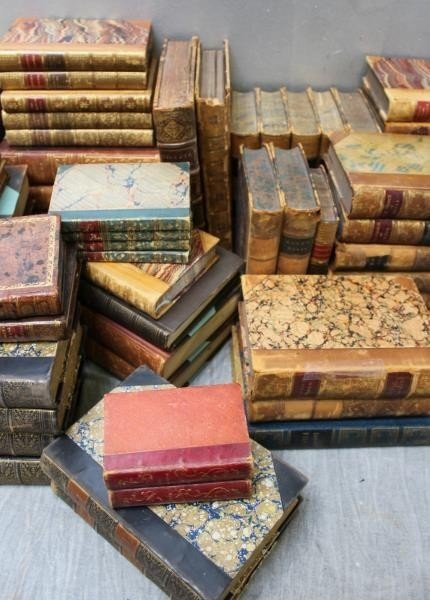 Large Lot of Antique Leather Bound Books. - 5