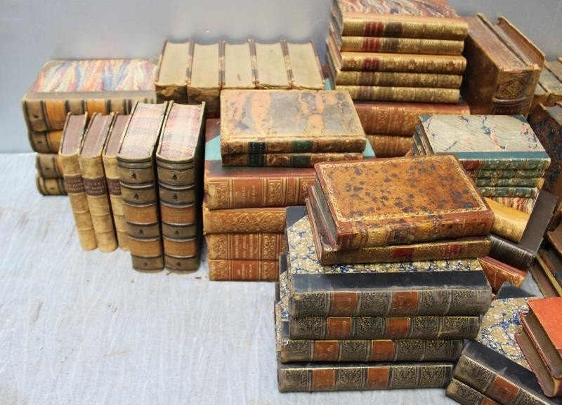 Large Lot of Antique Leather Bound Books. - 6