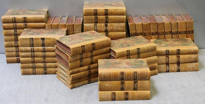 Box Lot of Antique Leather Bound Books. - 2