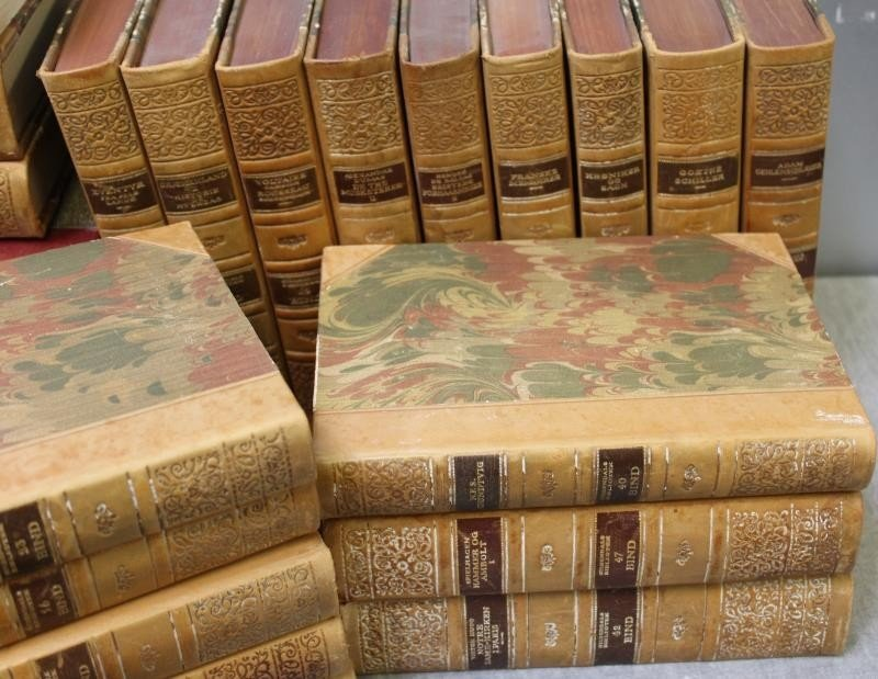 Box Lot of Antique Leather Bound Books. - 5