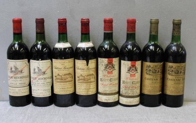 1966-1975 Bouscaut,Beychevelle,Corbin,Brown Wine. - 2