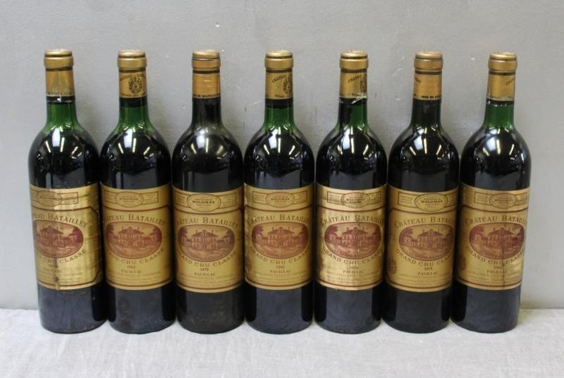 7 Bottles Chateau Batailley Grand Wine 1982.