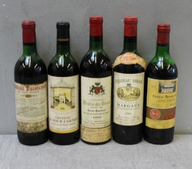 Mixed 5 Bottle Lot of French Wine 1966 & 1970.