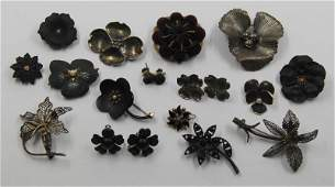 JEWELRY Grouping of Floral Victorian Mourning Jewelry