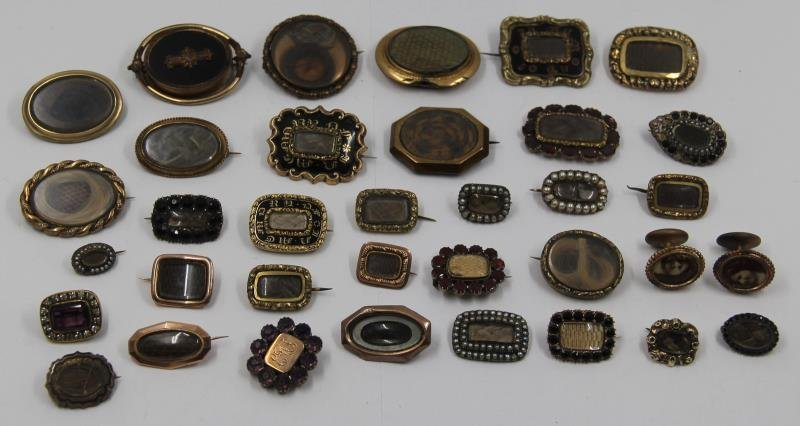 JEWELRY. Grouping of Victorian Mourning Jewelry.