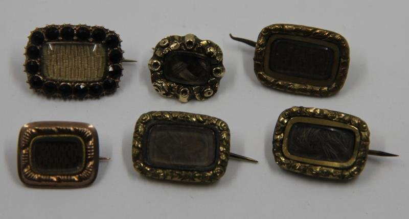 JEWELRY. Grouping of Victorian Mourning Jewelry. - 6