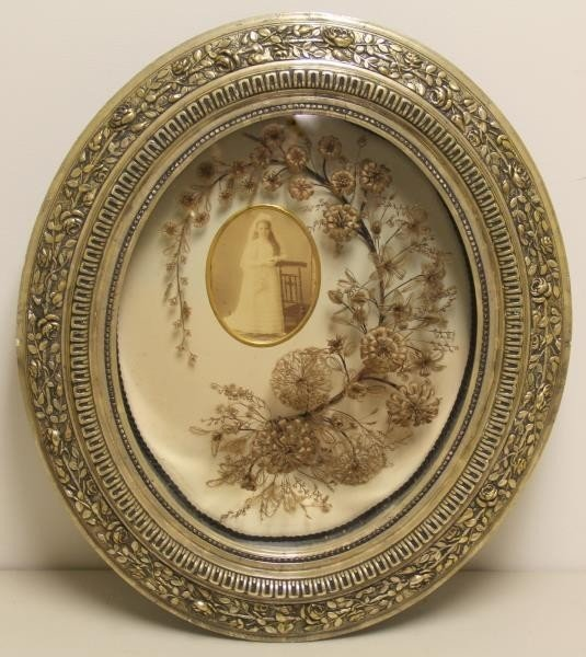Framed Victorian Mourning Hair Wreath and Bouquet.