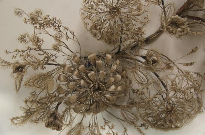 Framed Victorian Mourning Hair Wreath and Bouquet. - 4