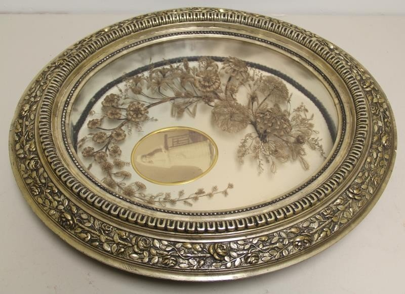 Framed Victorian Mourning Hair Wreath and Bouquet. - 6