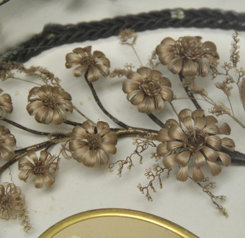 Framed Victorian Mourning Hair Wreath and Bouquet. - 7