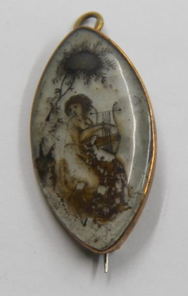 JEWELRY. Antique Hand Painted Mourning Brooch.