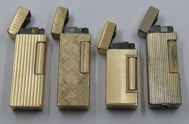 GOLD. Collection of 3 14kt Gold Dunhill Lighters. - 3