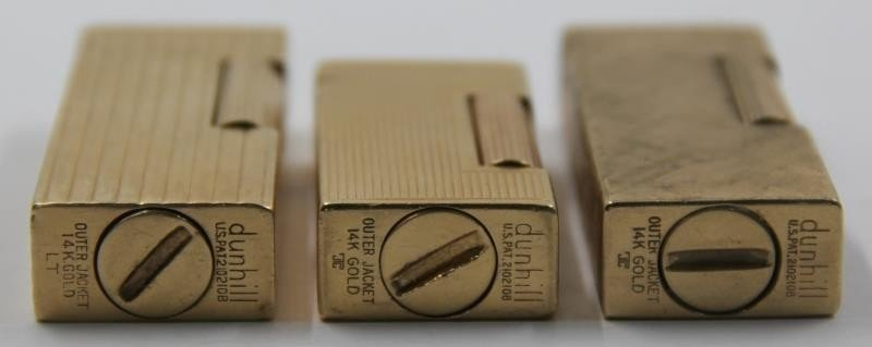 GOLD. Collection of 3 14kt Gold Dunhill Lighters. - 5