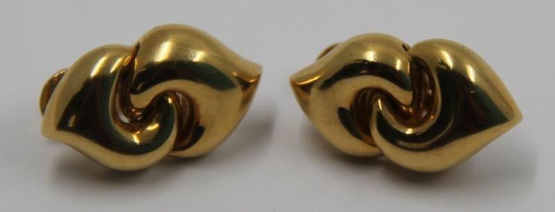 JEWELRY. Pair of Bvlgari 18kt Gold Earrings.