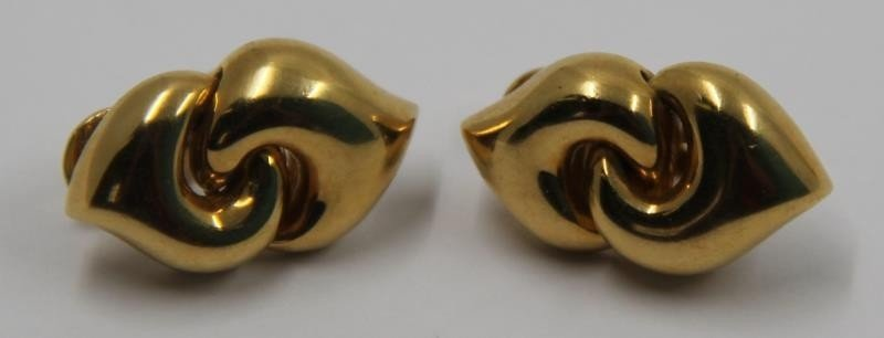 JEWELRY. Pair of Bvlgari 18kt Gold Earrings.