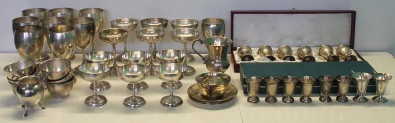 STERLING. Large Grouping of Assorted Cups and