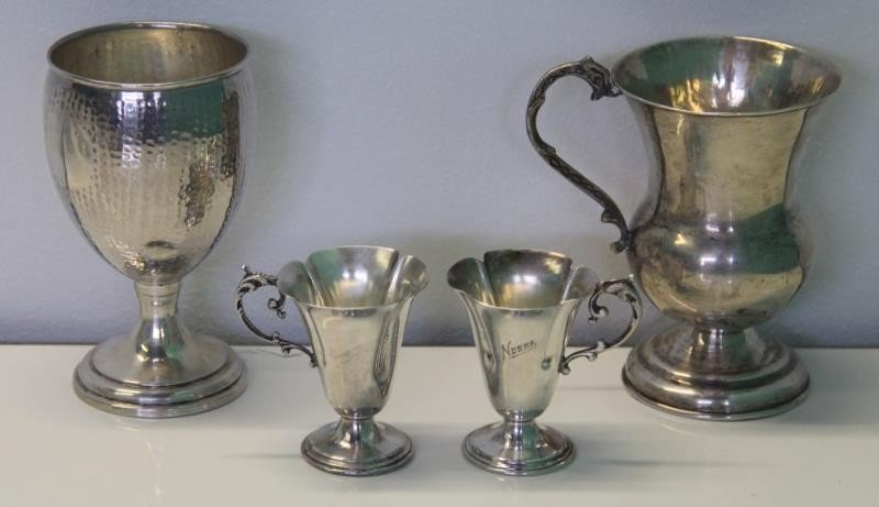 STERLING. Large Grouping of Assorted Cups and - 7