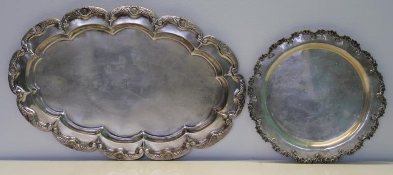 SILVER. Two .900 Silver Trays.