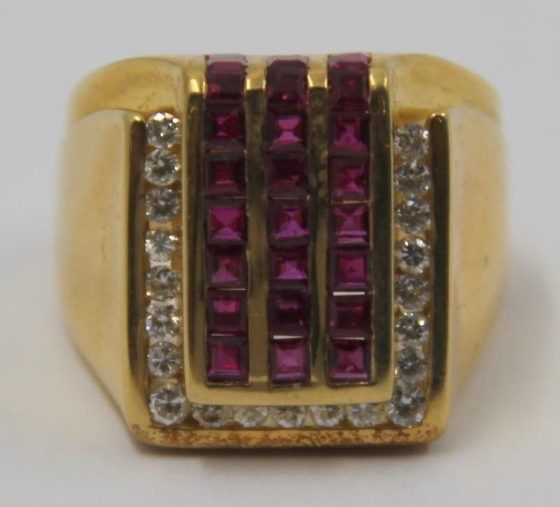 JEWELRY. Krypell 18kt Gold, Ruby and Diamond Ring. - 4