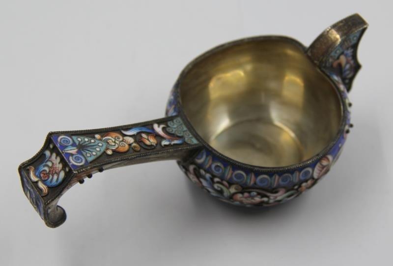 SILVER. Russian Enamel Decorated Kvosh or - 3