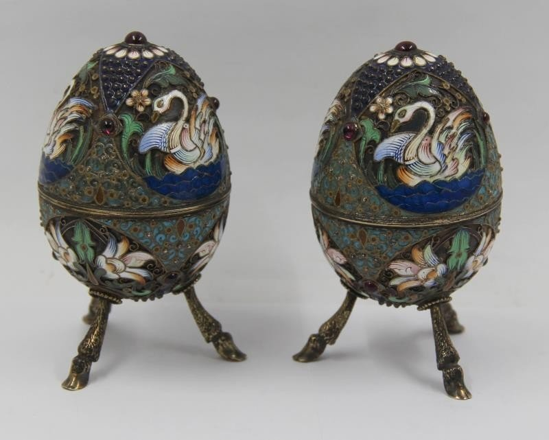 SILVER. Pair of Russian Silver Enameled Easter Eggs.