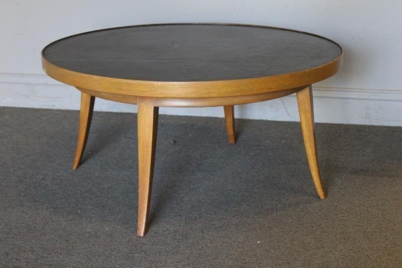 Early Gilbert Rohde Leather Top Coffee Table.