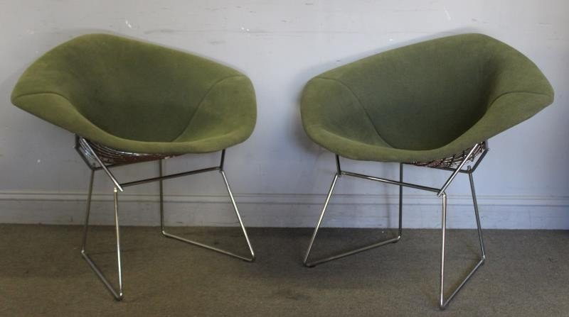 Pair of Harry Bertoia; Knoll Diamond Chairs.