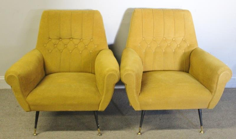 Pair of Green Midcentury Italian Lounge Chairs.