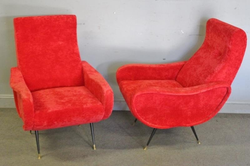 Pair of Modern Marco Zanuso Style Lounge Chairs.