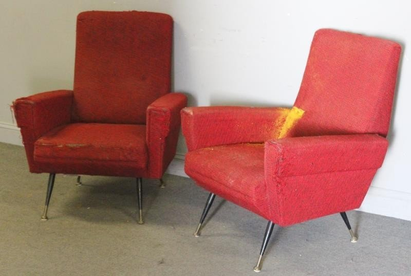 Pair of Vintage Italian Modern Lounge Chairs.