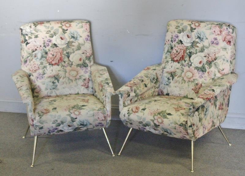 Pair of 1960s Upholstered Italian Lounge Chairs.