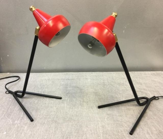 Pair of Midcentury Italian Articulated Desk Lamps.